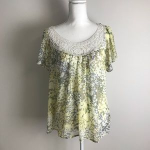XXI - yellow sheer blouse with lace collar